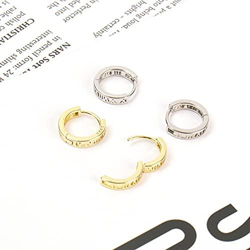 UHIBROS 2 Pairs Small Hoop Earrings, S925 Sterling Silver Roman Numerals Hoop Earrings Cartilage Hypoallergenic Earrings Circle Earrings for Women Men Girls(2 Colors Set)