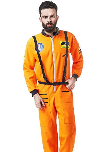 Orange Astronaut Jumpsuit Adult Mens Costumes (Men's NASA Astronaut Space Hero Spaceman Dress Up & Role Play Halloween Costume (Large))