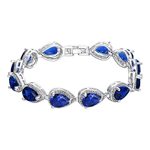 (EVER FAITH Women's Prong CZ September Birthstone Teardrop Tennis Bracelet Sapphire Color)