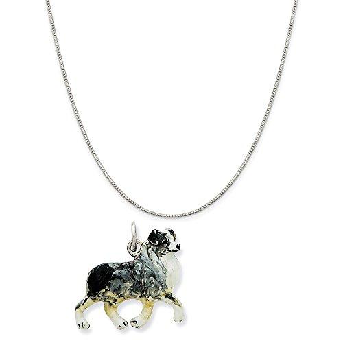 Mireval Sterling Silver Enamel Australian Shepherd Charm on Sterling Silver Carded Box Chain Necklace, 18