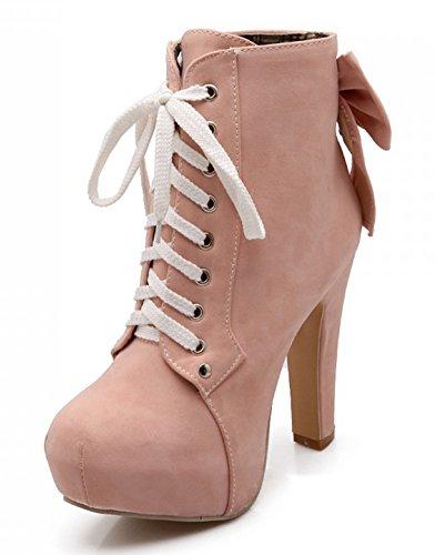 Women's Round Toe Platform High Heels Fashion Ankle Boots Pink - 5