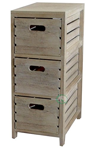 Vintiquewise(TM) Distressed Washed Crates Cabinet 3-Drawer Chest, Washed Wood (Rustic Storage Cabinet compare prices)