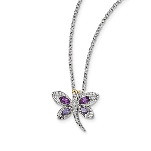925 Sterling Silver 14k Amethyst/iolite/dia Dragonfly Chain Necklace Pendant Charm Gemstone Fine Jewelry Gifts For Women For Her