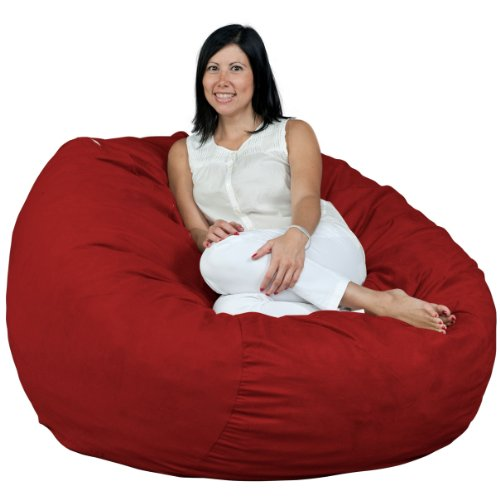 FUGU Bean Bag Chair for Adults, Large 4 Foot Foam Filled Beanbag Includes Protective Liner Plus Removable Machine Wash Cinnabar Cover. (Beanbags Oversized)