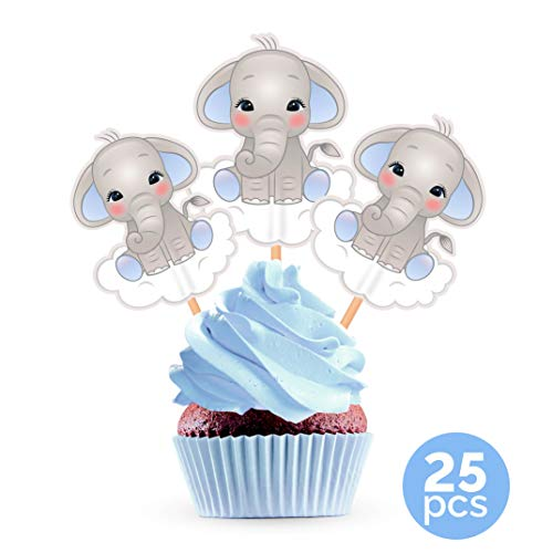Blue Elephant Cupcake Toppers Cake Picks - Boy Baby Shower Decorations Supplies - 25 -
