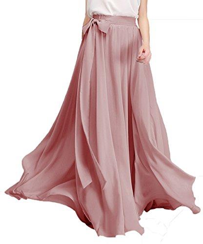 Honey Qiao Chiffon Bridesmaid Dresses High Waist Long Woman Maxi Skirt (Small, ()