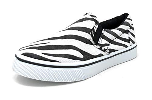 Pink Label Girl's Stylish Low-Top Slip-On Zebra Striped Print Sneaker in Black/White Size: 1