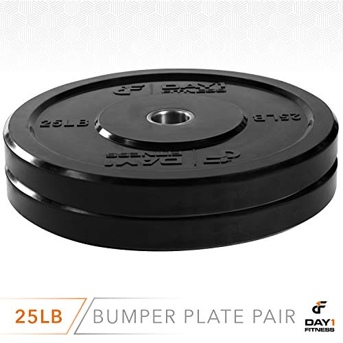 """Day 1 Fitness Olympic Bumper Weighted Plate 2"""" for Barbells, Bars – 25 lb Set of 2 Plates - Shock-Absorbing, Minimal Bounce Steel Weights with Bumpers for Lifting, Strength Training, and Working Out by Day 1 Fitness (Image #2)"""