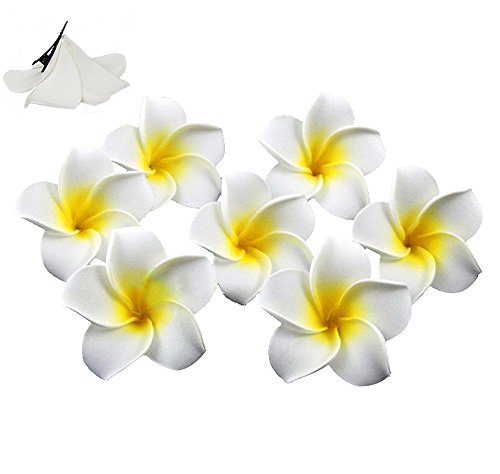 100pcs Hawaiian Artificial Plumeria Foam Flower Hair Clip For Wedding Party Headdress Home Decoration White Yellow