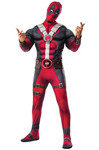 Marvel Men's Deadpool Deluxe Muscle Chest Costume and Mask, Multi, Standard -