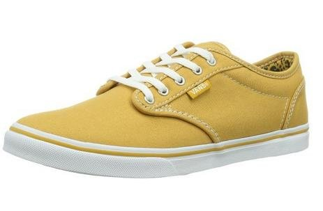 Vans Women's Atwood Low Canvas Skate Shoes Gold/White (5.5)