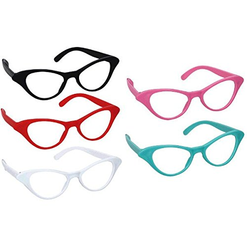 Amscan Nifty 50's Theme Party Cat Style Glasses, Pack of 10, Multi - Glasses Cateye