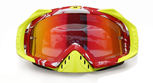 NENKI Goggles NK-1023 Motocross Goggles (Camouflage Red,Mirror - Frames Face Glasses Shape According To