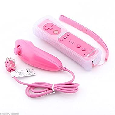 YORKING™ New 2in1 Built in Motion Plus Remote and Nunchuck Controller for Nintendo Wii and Wii U and Mini Wii with Silicon Case Skin(Pink)