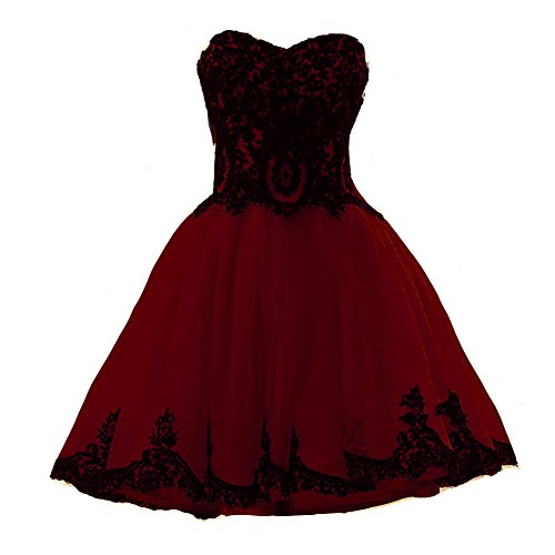 Short Burgundy Tulle Vintage Black Lace Gothic Prom Homecoming Cocktail Dresses US 4