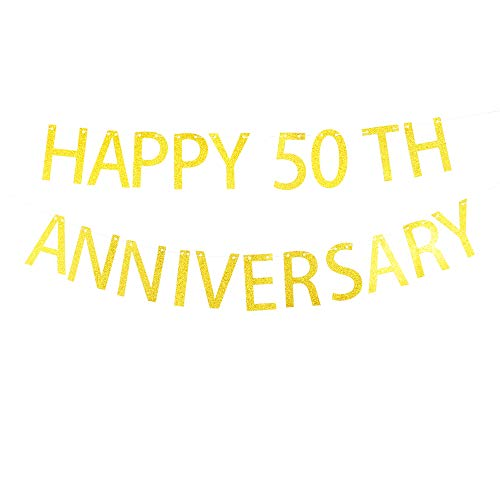Happy 50th Anniversary Banner for Wedding Anniversary Party Decorations ()