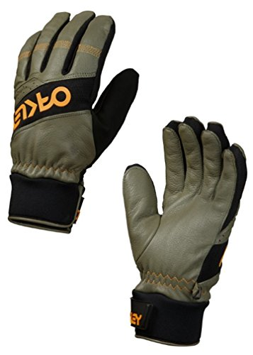 Oakley Men's Factory Pilot Winter Leather Snowboard Ski Gloves - Worn Olive (Small) - Recon Mens Snowboard