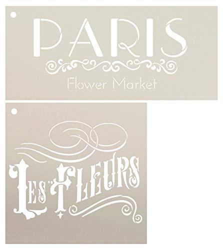 - Paris Flower Market Les Fleurs Stencil Set 2 - Piece by StudioR12 | Reusable Mylar Template | Use to Paint Wood Signs - Walls - Tables - DIY Kitchen Decor