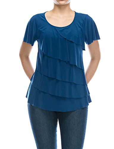JENNIE&MARLIS Women's Short Sleeve Scoop Neck Cascade Tiered Knit Top (Large, (Tiered Ruffle Top)