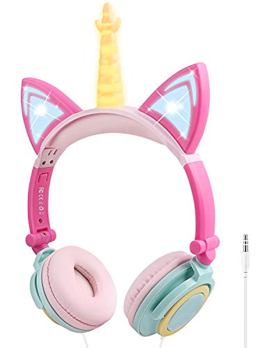 Unicorn Kids Headphones with Microphone, Over-Ear Cat Headphones Wired for Girls Boys Adjustable Foldable 85dB Volume Limited Headset School Travel(Yellow+Petals)