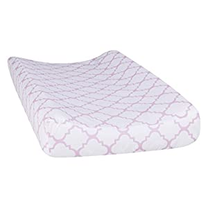 Trend Lab Orchid Bloom Quatrefoil Changing Pad Cover, Purple
