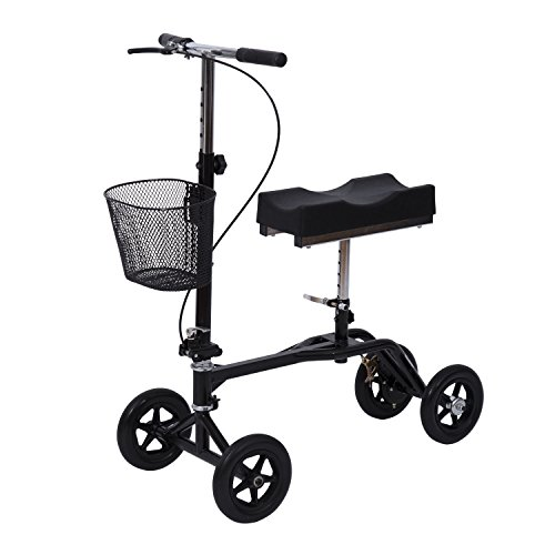 Eight24hours New Steerable Foldable Knee Walker Scooter Turning Brake Basket Drive - Black
