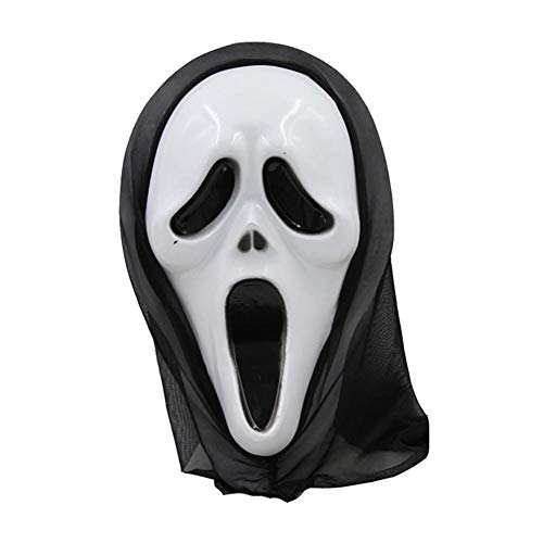 headytidy Halloween Mask Cover Ghost Festival Horror Mask Death Mask Masquerade Props - Durable Shrink Portable for Cosplay, Birthday, Drama, Games, Night Clubs (21.532.5cm)