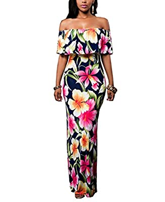 Suimiki Vintage Ruffle Plain Floral Printed Off Shoulder Bodycon Long Party Maxi Dress