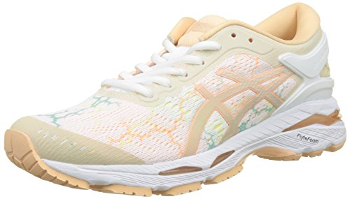 Asics Gel-Kayano 24 Lite-Show, Chaussures de Running Femme, Bianco Blanc (White/white/apricot Ice 0101)