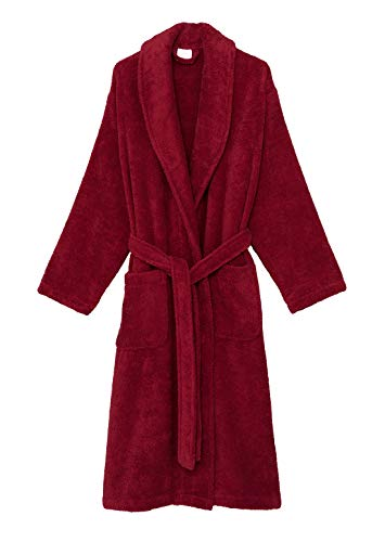 (TowelSelections Men's Robe, Organic Cotton Terry Shawl Bathrobe Large/X-Large Deep Claret)