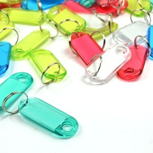 1 X Bluecell Pack of 60 Assorted Color Coded Key Tag with Label Window Ring Holder with LCD Cleaner Stylus (Crystal)