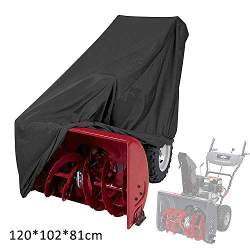 RIYIFER Universal Size Snow Thrower Cover, 420D Waterproof Tear Resistant Oxford Cloth Durable All Weather Outdoor Protection Includes Carry Bag -Black(47″X40″X32″)