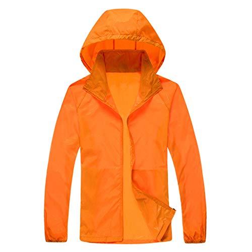 Funnygals  Unisex Womens Mens Lightweight Jacket Waterproof Raincoat Outdoor Hooded Windproof Zipped Windbreaker Orange