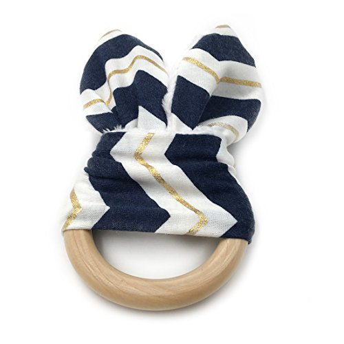 Amyster DIY Baby Teether Toy Organic Teething Rings Bunny Ear Teething Ring For Baby/Fabric And Wooden Teething Ring With Crinkle Material Inside/Sensory (Bunny Toys Diy)