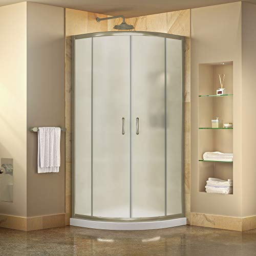 DreamLine Prime 33 in. x 74 3/4 in. Semi-Frameless Frosted Glass Sliding Shower Enclosure in Brushed Nickel with White Base Kit, DL-6701-04FR