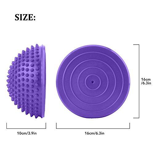 Spiky Massage Balls,2 PCS PVC Inflatable Half Yoga Balls Massage Point Fitball Exercises Trainer Fitness Balance Ball for Plantar Fasciitis, Deep Tissue, Back, Foot Massage(Purple)]()