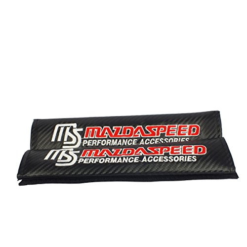 Zelux 2pcs set MAZDASPEED Carbon Fiber Seat Belt Cover Shoulder Pad Internal Use For Japan Mazda Car Auto (Cover Set Carbon)