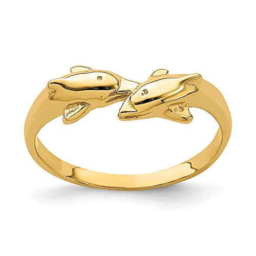 14k Yellow Gold Dolphin Kissing Dolphin Ring ()