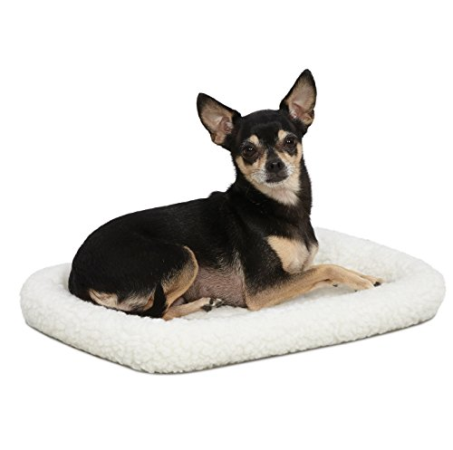18L-Inch White Fleece Dog Bed or Cat Bed w/ Comfortable Bolster | Ideal for
