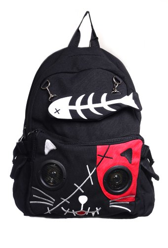 Banned Kitty Speaker Backpack - Black/Red/One Size