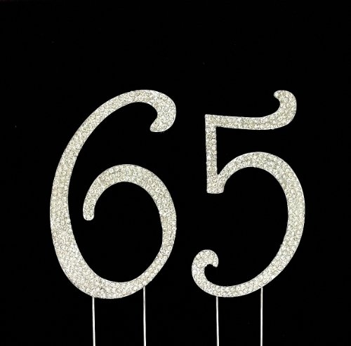 Large 65th Birthday / Wedding Anniversary Number Cake Topper with Sparkling Rhinestone Crystals - 4 1/2