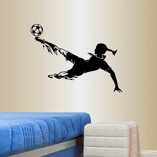 Wall Vinyl Decal Home Decor Art Sticker Silhouette Girl Woman Player Football Soccer Kicking Ball Sports Kids Bedroom Room Removable Stylish Mural Unique Design For Any Room Creative Design Logo House