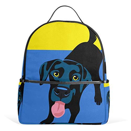 School Backpack Daypack Dog Black Labrador Retriever Lightweight Canvas Book Bag for boys girls Kids Teens Women