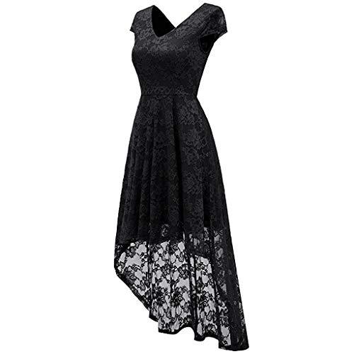 cocktail con Costumi abiti abito donna Black Elegante lunghi patchwork Print Princess da Hepburn in sera Party Vintage Abiti pizzo Vpass da da afxPnHI
