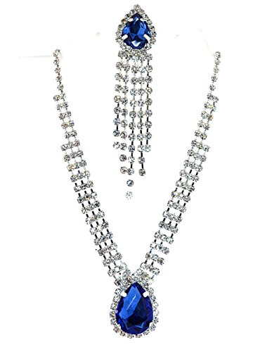 (Mevoi Glamour Tear-drop and Round Simulated Rhinestone Necklace,clip-on Earrings Set (Royal Blue))