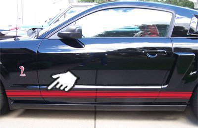 Rocker Panel Stripes Side Racing Decals for Ford Mustangs of All Years - 4 Styles & 20 Colors to Choose from (Style 3 :: Red) ()