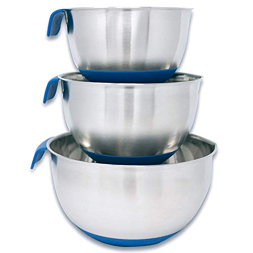 HUJI 3 Piece Stainless Steel Mixing Bowls Set with Pouring Spouts & Non-Slip Silicone Base and Handles For Baking Mixing Cooking Kitchen Tools (Blue)