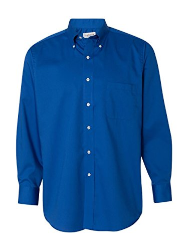 Van Heusen Mens Long Sleeve Button Down Baby Twill Dress Shirt - Colors (3XL, Royal Blue)