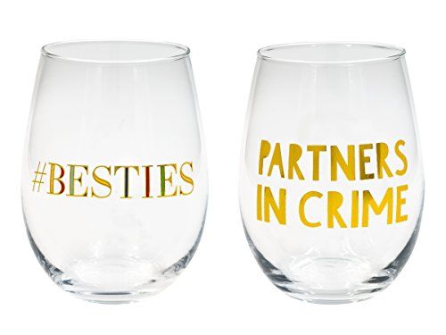Besties, Partners in Crime Wine Glass 2 Pc - Face Glasses Face 2