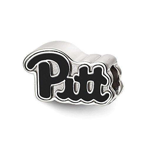 Sterling Silver LogoArt University of Pittsburgh Pitt Script Enameled Logo, Sterling Silver